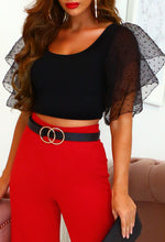Black Tulle Sleeve Crop Top