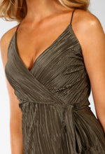 Pleated Wrap Front Dress