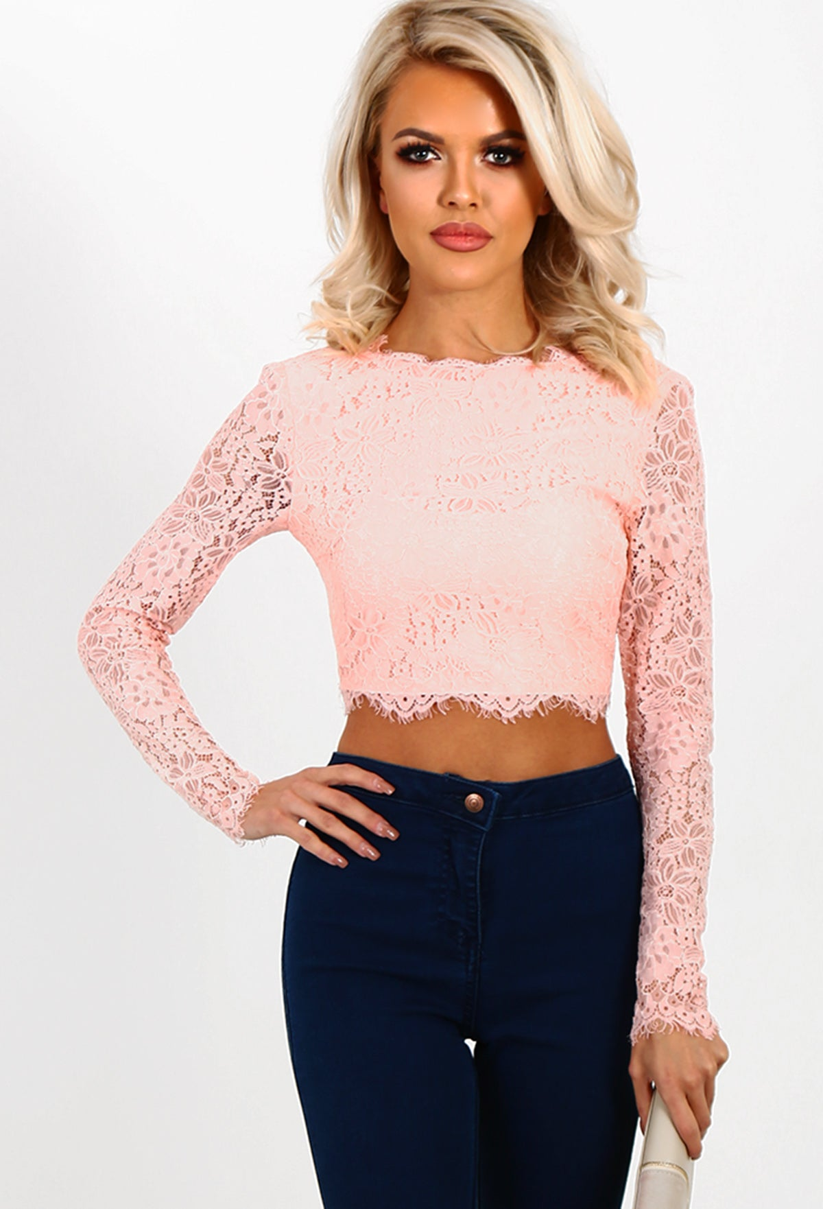 9e4d39c908b0a Sahar Pink Lace Long Sleeve Crop Top – Pink Boutique UK