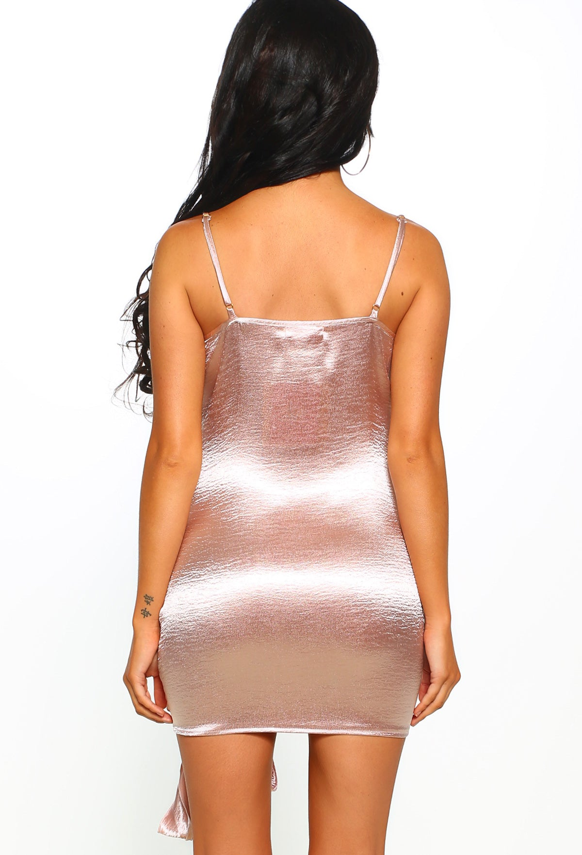 6c9387c514f39 Sass in the City Pink Satin Cowl Neck Knot Detail Mini Dress – Pink ...