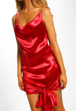 Sass In The City Red Satin Cowl Neck Knot Detail Mini Dress