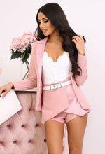 Sass & Pose Rose Pink Asymmetric Satin Detail Shorts