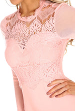 Sassy But Cute Pink Lace Long Sleeve Bodysuit