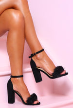 Sassy Lady Black Faux Suede Feather Strap Block Heels