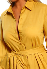 Satisfaction Mustard Balloon Sleeve Tie Waist Shirt Dress