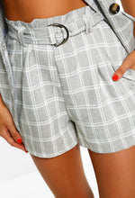 Grey Check Print Shorts