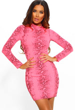 Neon Pink Long Sleeve Dress