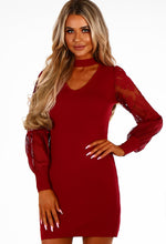 Say Yes To The Dress Burgundy Lace Sleeve Knitted Mini Dress