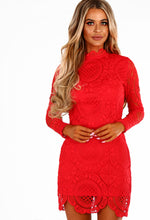 Scarlett Red Crochet Long Sleeved Mini Dress