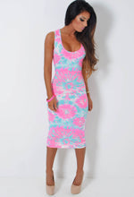Lost Paradise Neon Tie Dye Bodycon Midi Dress