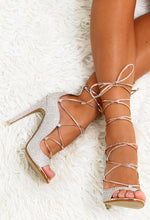 Secret Admirer Rose Gold Diamante Lace Up Heels