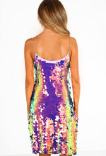 Secret Mermaid Pink Multi Sequin Iridescent Mini Dress