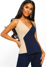 Navy And Nude Wrap Cami Top - Front view