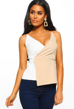 Seductive Kisses Nude And White Wrap Cami Top