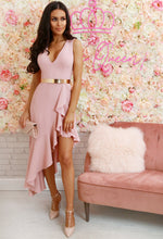 Senorita Dream Rose Pink Asymmetric Frill Hem Midi Dress