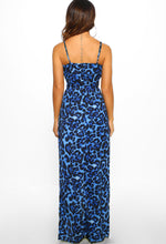 Blue Leopard Print Maxi Dress