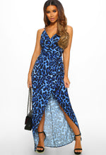 Blue Leopard Print Wrap Maxi Dress