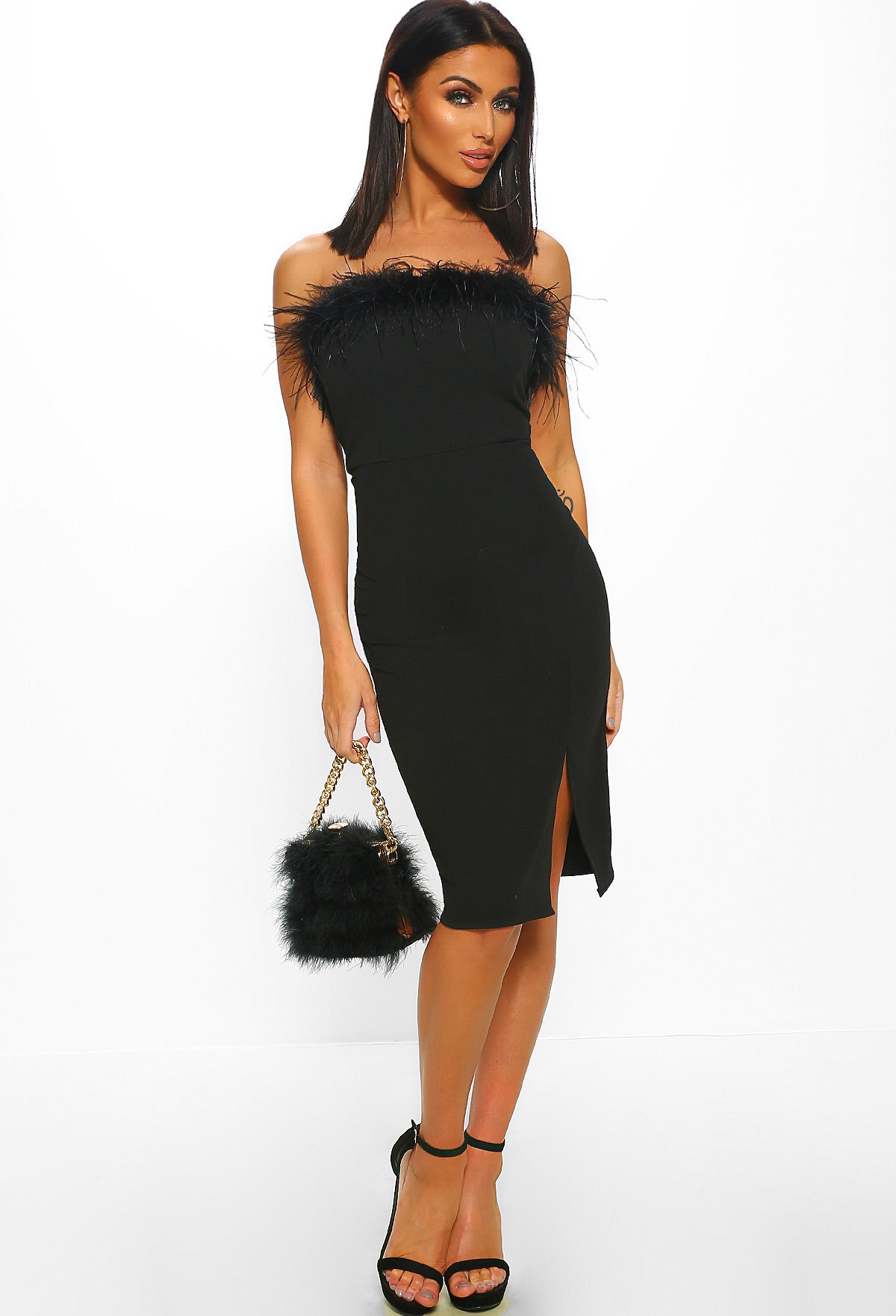 9fc46851250 Miss Behave Black Strapless Feather Bodycon Midi Dress – Pink ...