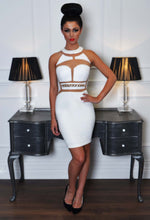 Striking White Mesh Panel Gold Detail Mini Dress
