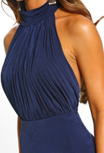 Navy Pleated Halterneck Midi Dress