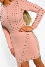 She's Stunning Pink Studded Faux Suede Mini Dress
