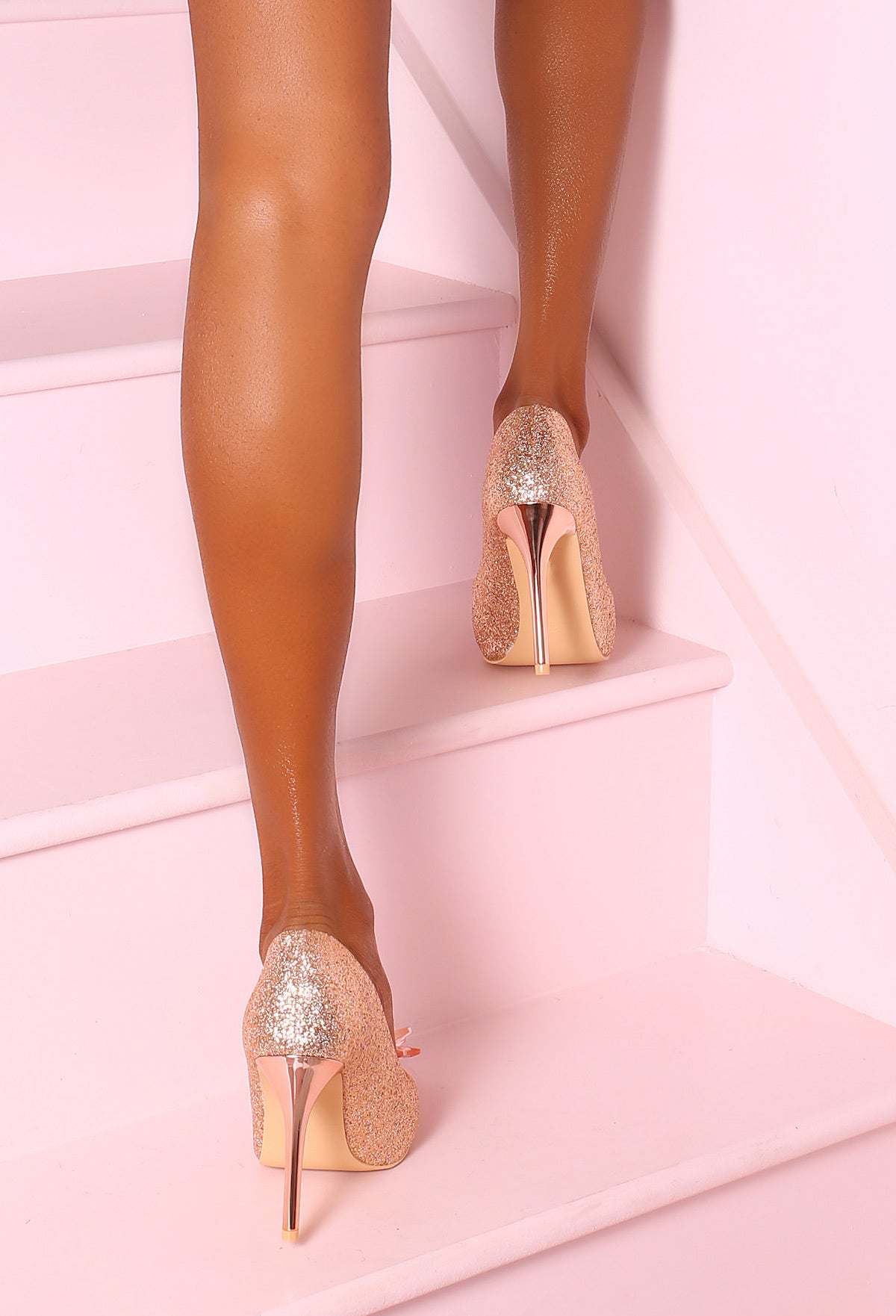 de7aff63345 Shimmer Queen Rose Gold Glitter Embellished Court Heels – Pink ...