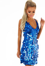 Shimmy and Sparkle Cobalt Blue Sequin Mini Dress