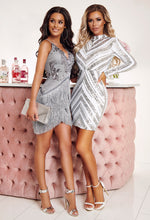 Grey Sequin Tassel Mini Dress - With Background