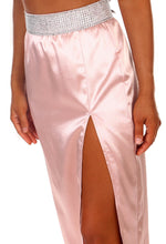 Frosted Diamond Pink Satin Diamante Trim Split Maxi Skirt