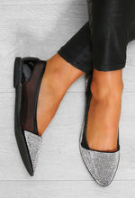 Black Diamante Pointed Flat Shoes