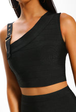 Show Girl Black Buckle Detail Bandage Crop Top