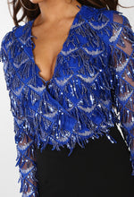 Cobalt Blue Sequin Fringe Wrap Bodysuit - close Up View