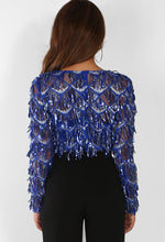 Cobalt Blue Sequin Fringe Wrap Bodysuit - Back View