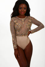 Show Queen Nude Mesh Jewelled Bodysuit