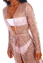 Showgirl Rose Gold Sequin Long Sleeve Maxi Cover Up