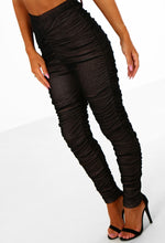 Side Chick Black and Nude Mesh Ruched Leggings