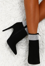 Signature Luxe Black Faux Suede Diamante Stiletto Ankle Boots