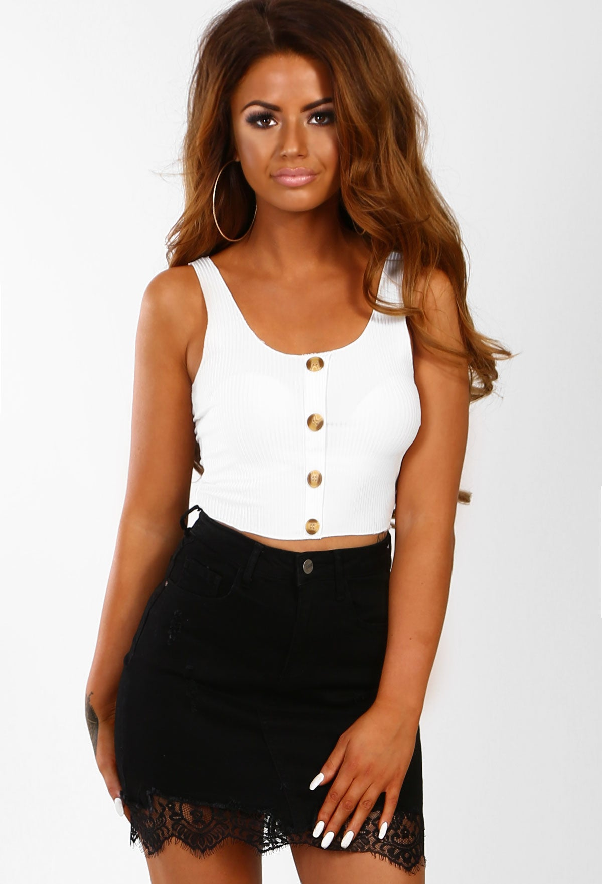 95ad7e7bede Simply Chic White Ribbed Button Detail Crop Top – Pink Boutique UK