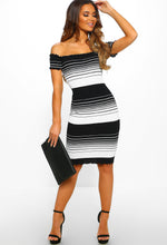 Single Lady Monochrome Stripe Knitted Bardot Mini Dress