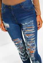 Blue Distressed High Waist Skinny Jeans - Close Up View