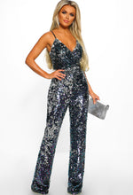 Sequin Wide Leg Jumpsuit - Front with Accessory
