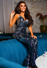 Sequin Wide Leg Jumpsuit - Front with Background
