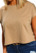 Taupe Crop Top - Close up view