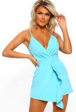 Blue Frill Detail Playsuit