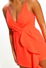 Slay Something Coral Frill Detail Sleeveless Wrap Playsuit