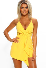 Yellow Frill Detail Sleeveless Playsuit