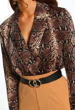 Snake Bite Multi Animal Print Long Sleeve Wrap Bodysuit