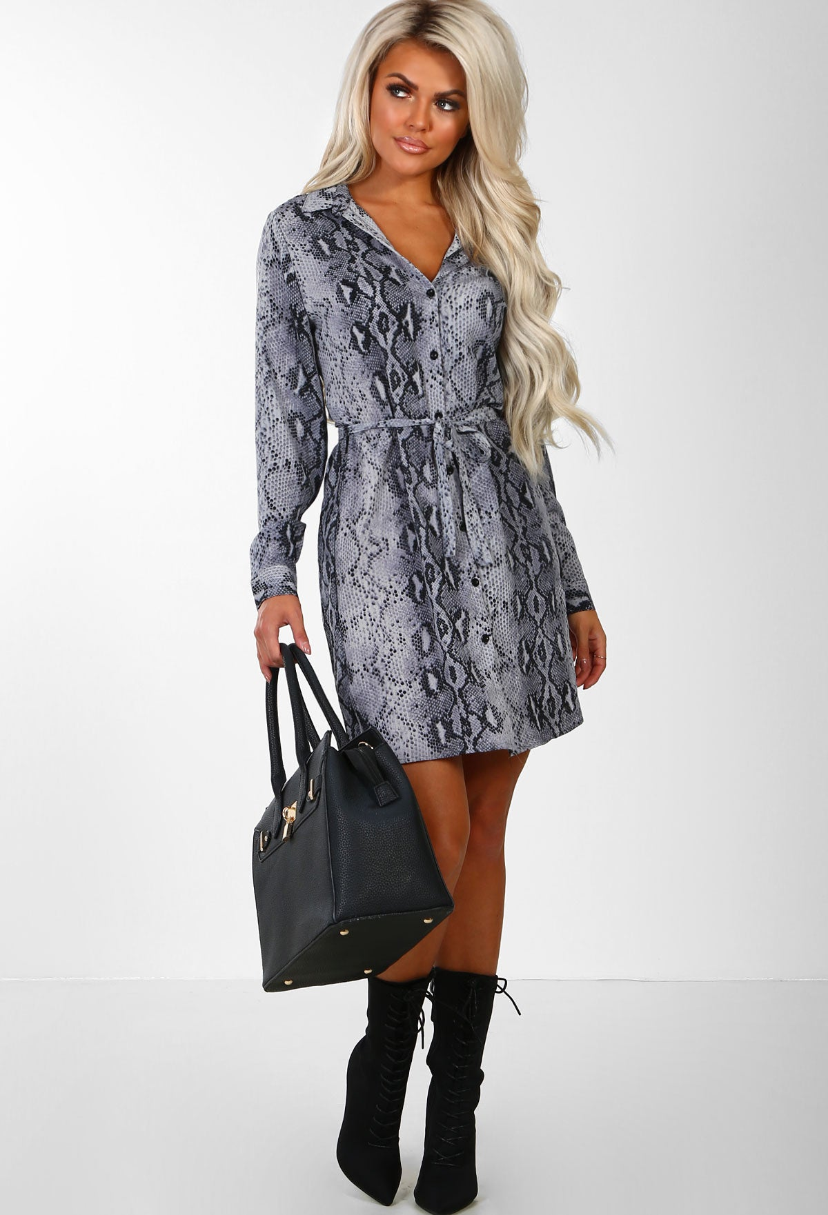 e1a87471 Snakes And Ladders Grey Snake Print Shirt Mini Dress – Pink Boutique UK