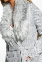 Snowflake Dream Grey Belted Faux Fur Cardigan