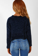 Snugs N Kisses Navy Chenille Knitted Cropped Jumper